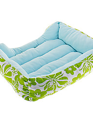 Green Leaves Flowers Pattern Kennel Bed for Pets Dogs