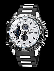 Men's Multi-Functional Analog-Digital Steel Round Dial Abs Band Quartz-Lcd Wrist Watch (Assorted Colors)