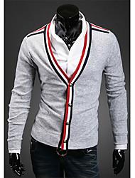 v der klassischen V-Ausschnitt Strickjacke Spleißen Farbe (grau)