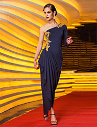 Formal Evening/Military Ball Dress - Dark Navy Plus Sizes Sheath/Column One Shoulder Floor-length Jersey
