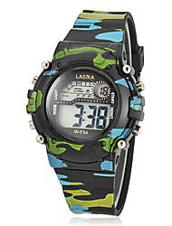Multi-fonctionnel cadran rond des enfants Camouflage Rubber Band LCD Montre numérique (couleurs assorties)