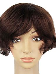 Capless 100% Real Human Hair Short Brown Curly Hair Wig