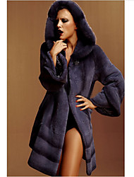 Long Sleeve Hooded Rabbit Fur And Mink Collar Party/Casual Coat