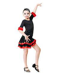 Performance Viscose Ruffle Decor Color Block Latin Dancewear Outfits For Kids
