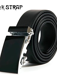 Men's  Genuine Leather Automatic Buckle Belt  Black