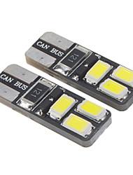 T10 1.6W 6x5730SMD 28-35LM 6000K fresco lâmpada LED de luz branca para o carro (12-16V, 2 peças)