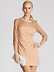 Frauen-Stitching Bottoming Sleeve Dress
