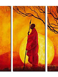 Hand Painted Oil Painting People Watchman with Stretched Frame Set of 3