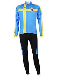 Kooplus2013 Campeonato Jersey Suécia poliéster e Lycra e tecido elástico Ciclismo Suits (camisa + Bib-calças)