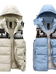 Male Texture Fashion Fawn Splicing Detachable Cap Sleeveless  Couples Cotton Vest