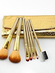 Maquillage mode 7 PC Nylon Hair Brush Set avec Golen de crocodile