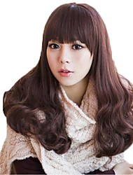 Capless Long Wavy Light Brown Synthetic Full Bang Wigs