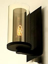 Wall Light, 1 Luce, Pittura americana di stile rustico Vetro Ferro