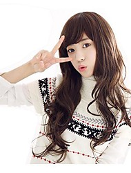 Fashion Capless Long Wavy Light Brown Synthetic Side Bang Wigs
