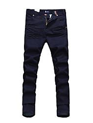 Homens refinado Slanting bolso cor sólida Jeans (sem cinto)