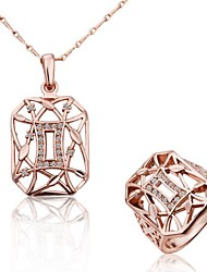 Women's Fashion 18K Rose Gold Hollow (Necklaces&Rings) Jewelry Set