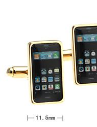 quadrado telefone abotoaduras homens (2 peças)
