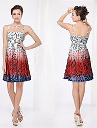 Spaghetti-Trägern Tier Printed Hohe Stretch Casual Dress