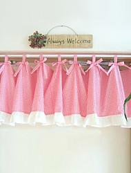 "Pinkbabi Lovely Pink Checks Pattern Valance (18""L×39""W)"