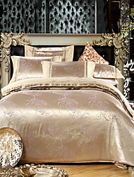 QiCaiLiRen 4Pcs Romantic Time Satin Jacquard Cover Set:Duvet Cover,Coverlet,Pillowcase