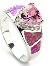 Fashion 925 Silver Plated Copper Pink Zircon Opal Ring