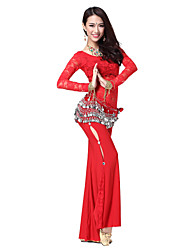 Dancewear Lace Rhinestone Belly Dance Outfits With Coin Belt (More Colors,Top & Pants)