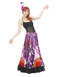Dancewear Women's Polyester Sexy Belly Dance Chiffon Flower Long Skirt Outfits