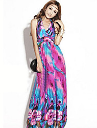 ZH Casual Big Size Bohemia Strap Long Dress(Fuchsia)