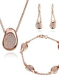 Rose 18K plaqué or boucles d'oreilles collier bracelet serti