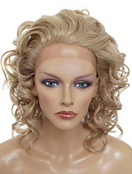 Lace Front Stylish Medium-length Curly Heat-resistant Synthetic Wig(Blonde)