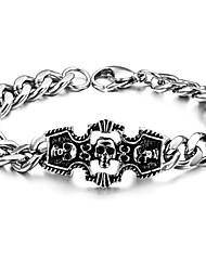 brazalete de acero de titanio de caracteres del cráneo de los hombres clásicos con productos de alta calidad