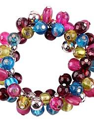 Moda grânulos de vidro estiramento pulseira (Castanho, Cinzento, Multicolor)