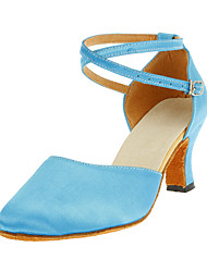 Non Customizable Women's Dance Shoes Modern Satin Chunky Heel Blue
