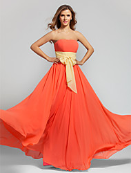 Floor-length Chiffon Bridesmaid Dress A-line Strapless Plus Size / Petite with Sash / Ribbon