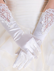 Elbow Length Fingertips Glove Satin / Lace Bridal Gloves / Party/ Evening Gloves Spring / Summer / Fall White