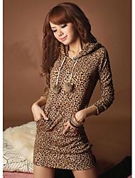 Mujeres Duogelmu Piel de leopardo con capucha Vestido