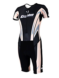 KOOPLUS - Triathlon Black+Sand Color Short Sleeve Wear and Shorts Conjoined Cycling Clothing