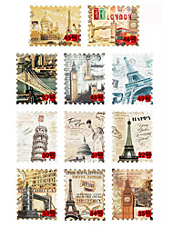 11PCS Mixed Pattern Stamp Stickers No.45-55(6x5x0.1cm)
