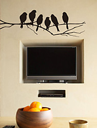 Abnehmbare Wandtattoo Black Birds On Branch Wandsticker