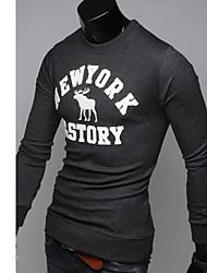 T & L Casual met lange mouwen ronde hals T-shirt (grijs) Z8952