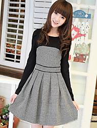 Tefeizuo color de los cordones de lana delgada de manga larga vestido (Negro)