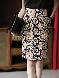 Luna Mujeres Domingo de la impresión floral de la falda de cintura alta Bodycon