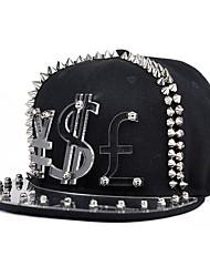 Mode unisexe style punk devise Lettre Transparent Rivet Black Hat pour les hommes de dames de femmes