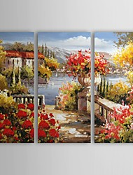 Hand Painted Oil Painting Landscape Garden by Lake with Stretched Frame Set of 3