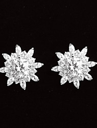 Simple Platinum Plated With Zircon Snowflake Shaped Women's Stud Earrings