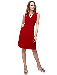 Sexy V-Ausschnitt Damen Red Ruffles Strethy Short Casual Dress