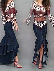 dammode sexiga asymmetrisk sjöjungfru maxi jeans kjol