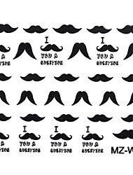 2PCS Beard Nail Art Sticker Mixed Pattern Nr.01-02