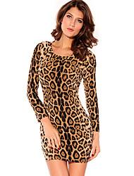 Mora leopardo amarillo Sexy cuello redondo Vestido ajustado