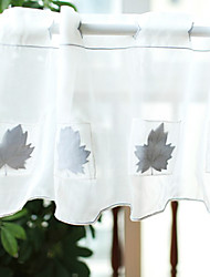"Country White Solid Minimalist Maple Leaf Pattern Valance (20""L×39""W)"